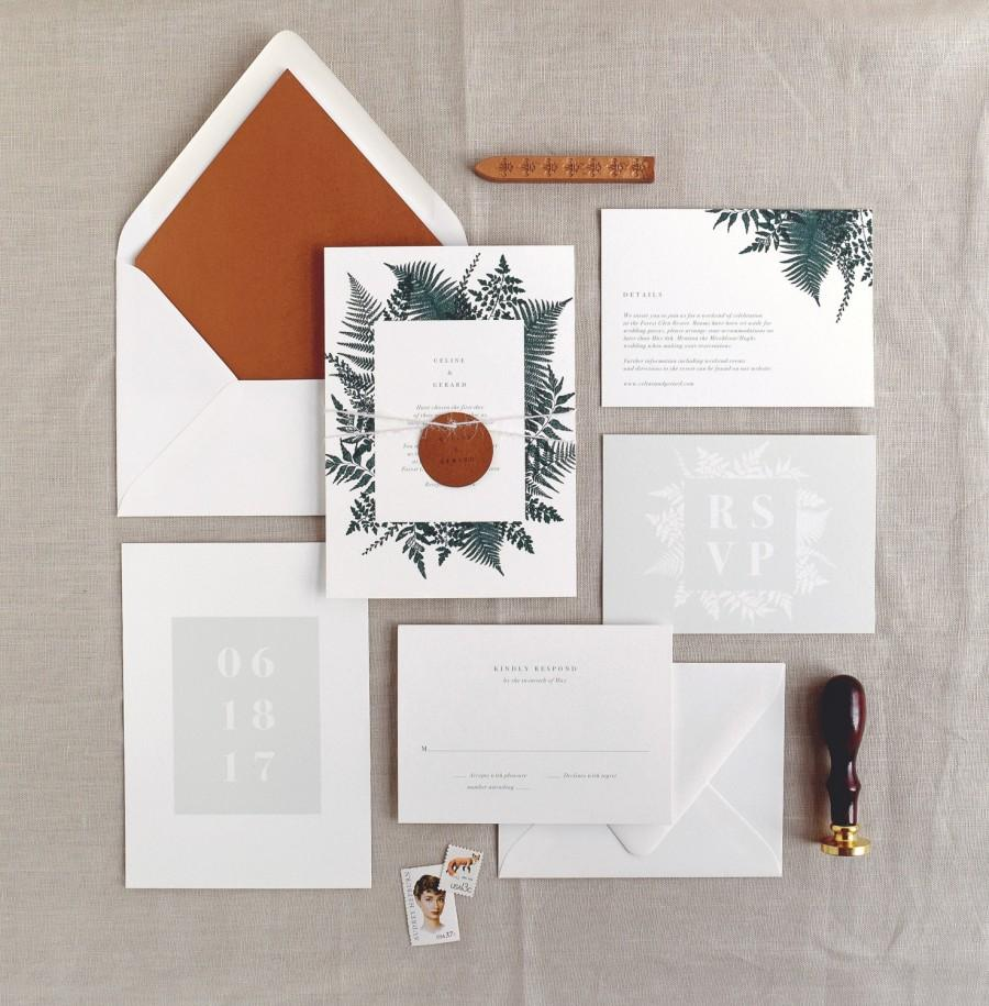 زفاف - Celine Wedding Invitation & Correspondence Set / Illustrated Botanical Ferns and Foliage / Sample Invitation Set
