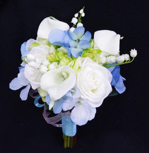 Wedding - Wedding Bouquet Blue Hydrangeas, White Roses and Calla Lilies Silk Flower Bride Bouquet - Almost Fresh