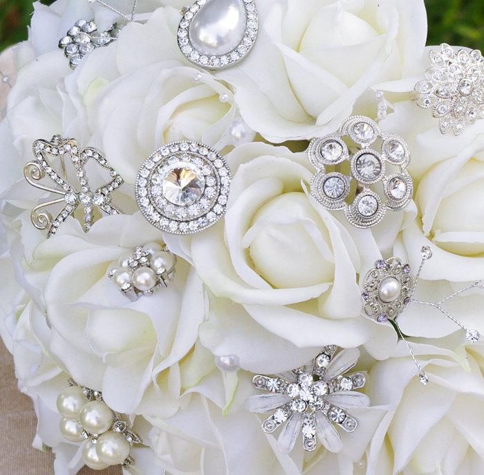 Wedding - Wedding Brooch Bouquet with Jewels Crystal and Pearl - Silk Flowers Roses Briddal