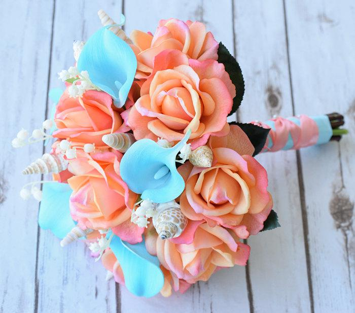 Свадьба - Wedding Coral Orange and Turquoise Teal Natural Touch Roses and Callas Silk Flower Seashells Bride Bouquet