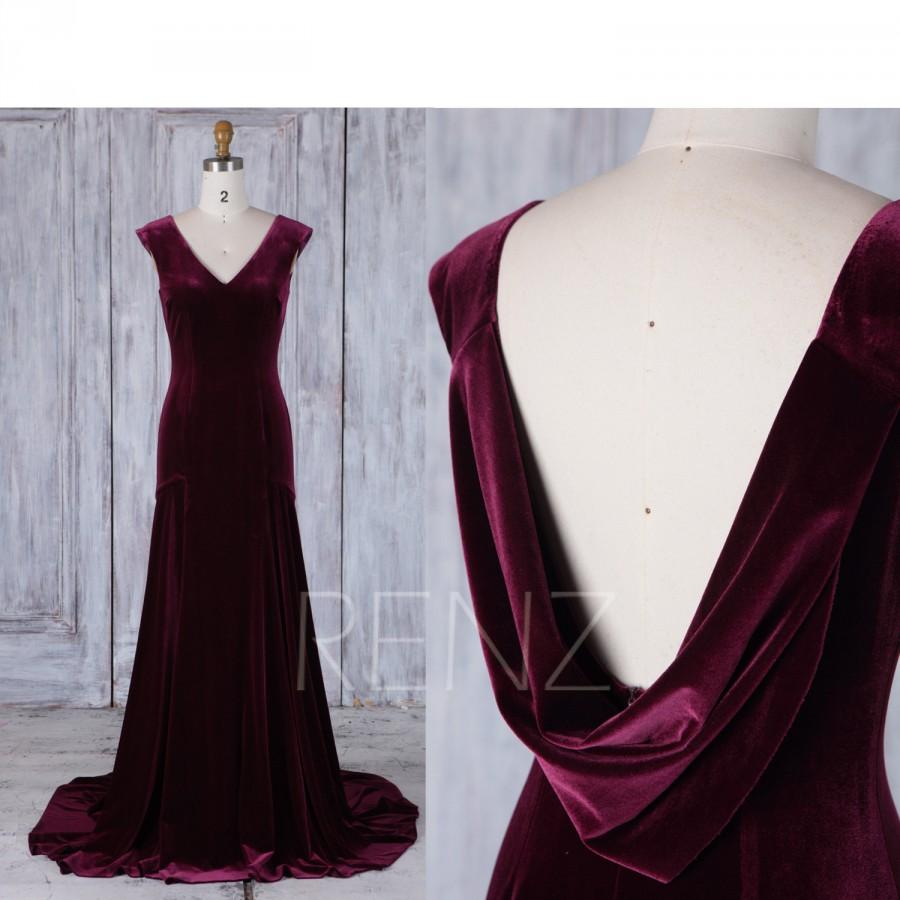 Mariage - 2017 Plum Velvet Bridesmaid Dress Train, Sexy V Neck Wedding Dress, Ruffle Skirt Draped Back Evening Dress, MOB Dress Floor Length (JV219)