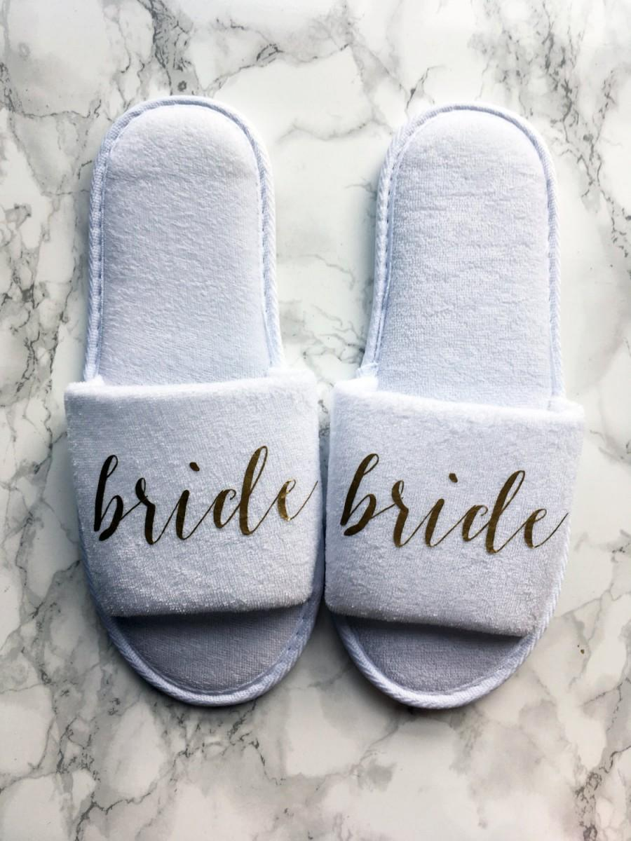 Mariage - Gold Bride Slippers for Getting Ready, Bridal Showers