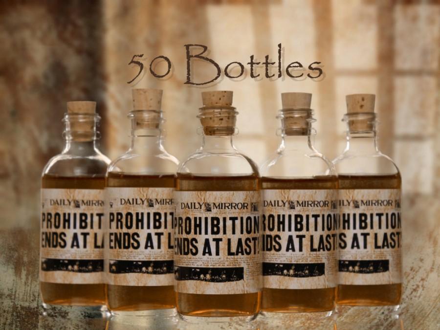 50 Prohibition Cork Glass Bottles For Wedding Favors Empty Bottles