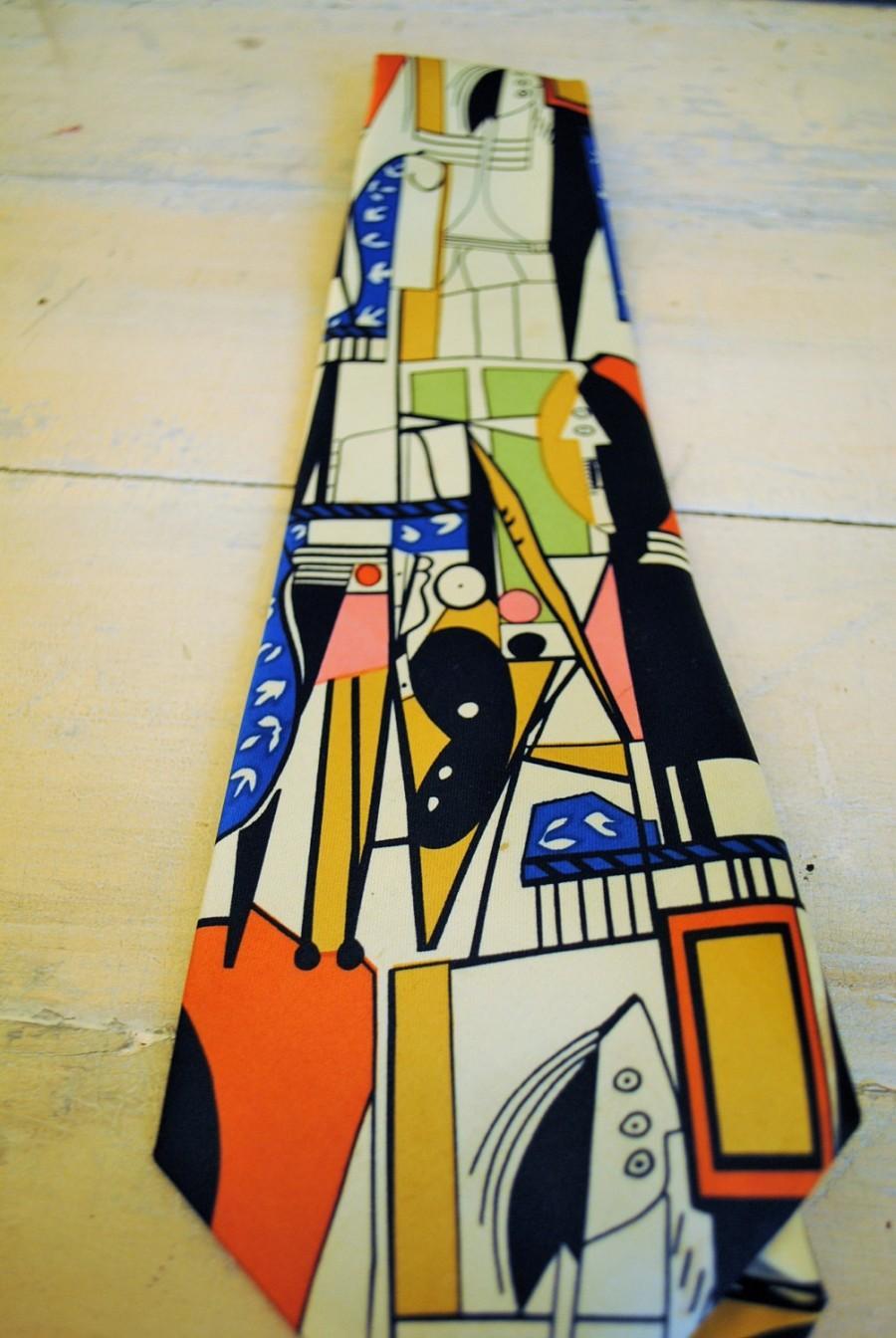 Mariage - Necktie 1960 Abstract tie modern mid-century great graphics wow Artists VINTAGE MENS TIE No2 Necktie antique vintage kitch cool retro man