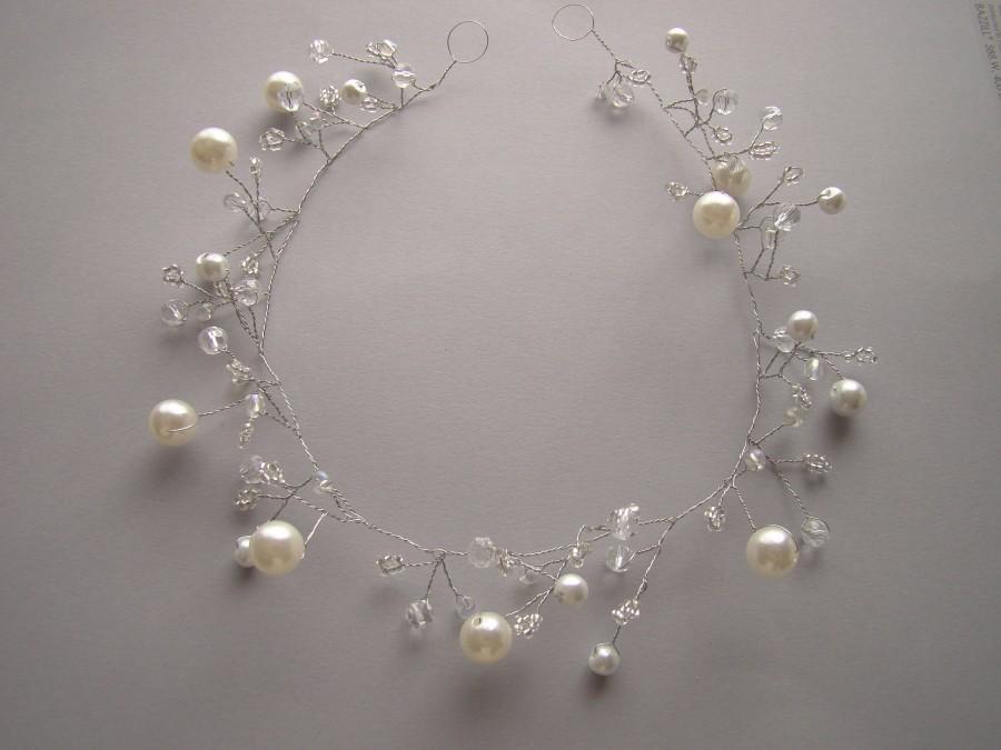 زفاف - Wedding hair vine, hair vine jewelry, hair vine pearls, bridal headband, bridal headpiece, silver wedding crown, silver wedding tiara