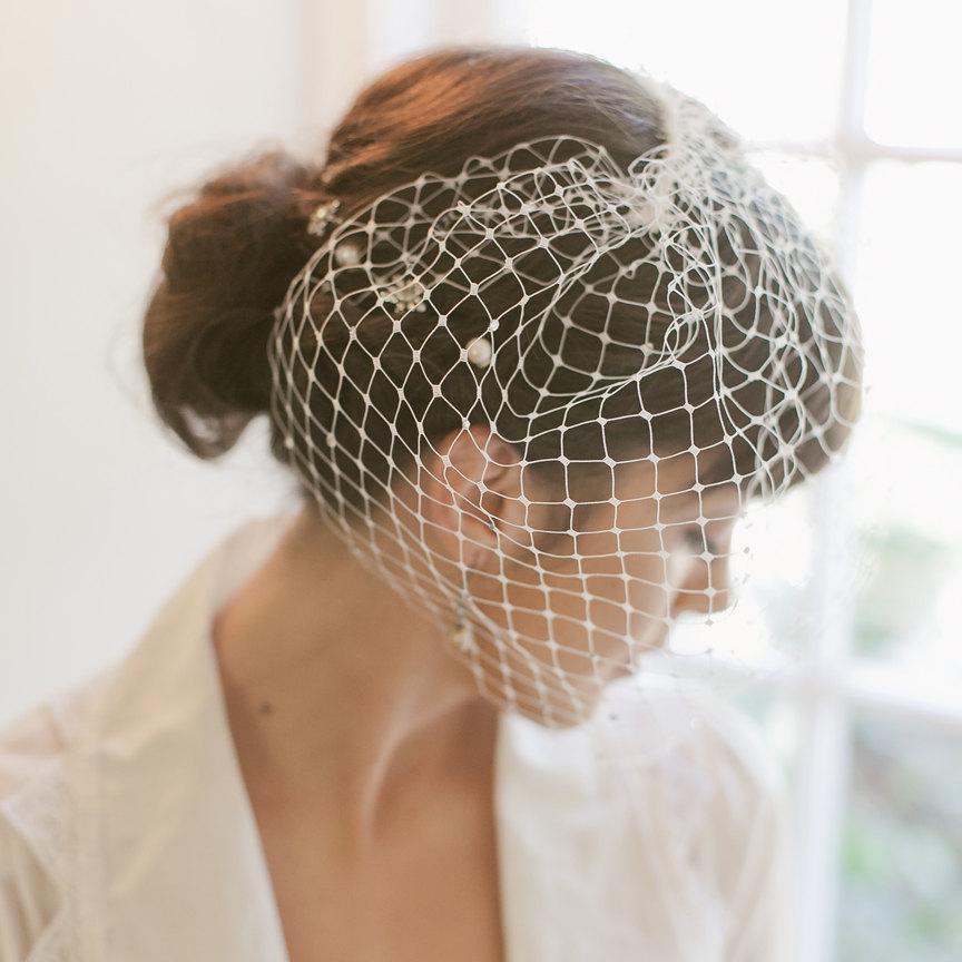 Mariage - Blusher veil, birdcage veil, Retro, Russian net, cage veil, rhinestones, Style 849