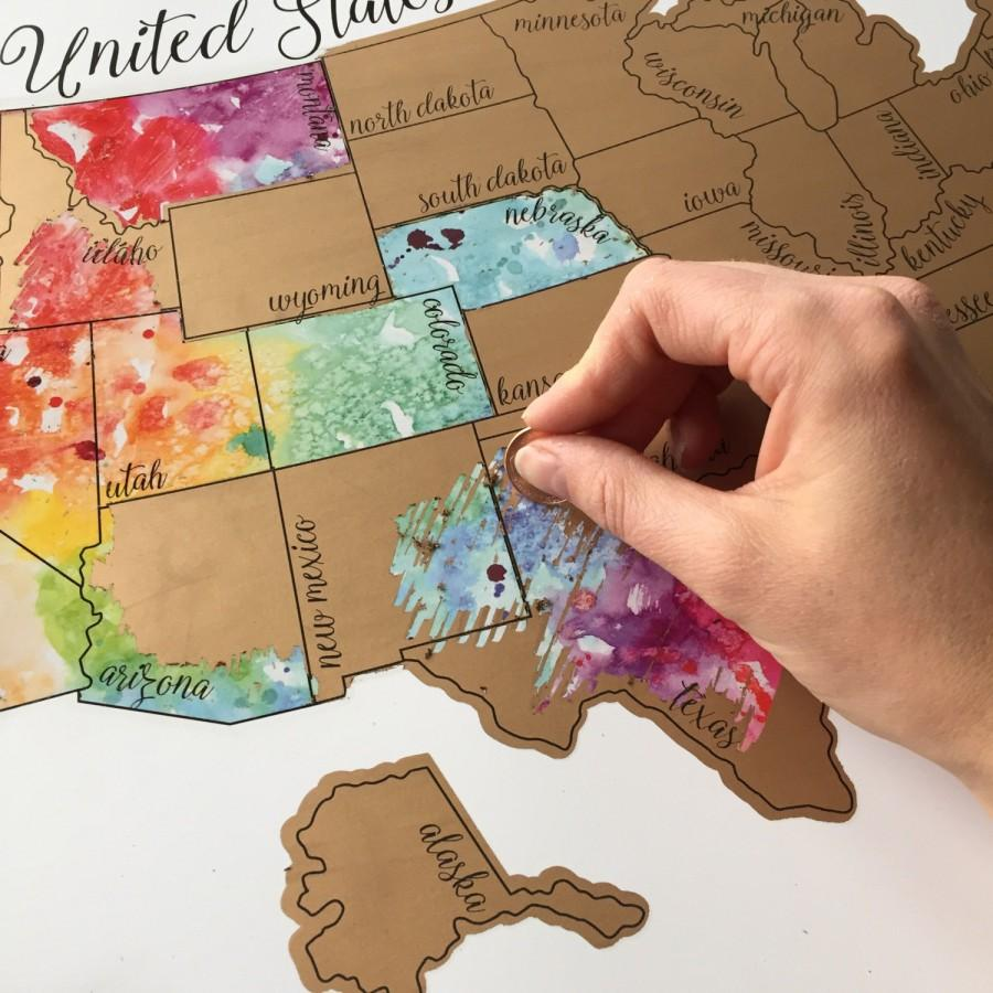 زفاف - Been There Scratched That- United States of America (USA US) Watercolor Scratch Map
