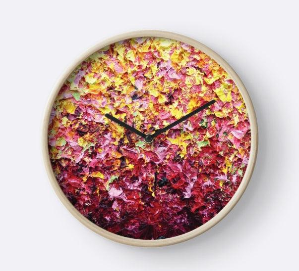 زفاف - Wall Clock, Pink and Yellow Wood Framed Clock, Artsy Circle Clock, Home Decor, Modern Clock for Wall, Circular Clock, Contemporary Clock