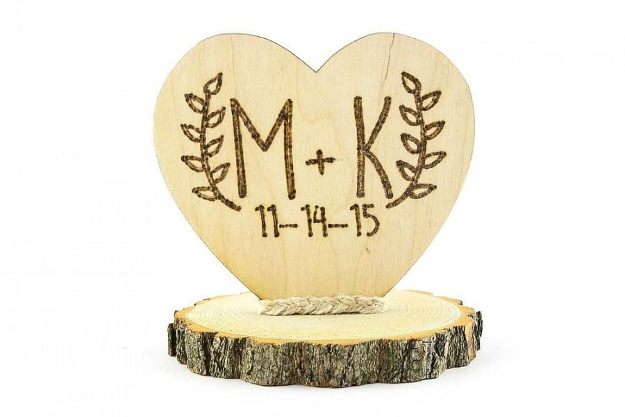 Свадьба - Personalized Rustic Cake Topper - 104126