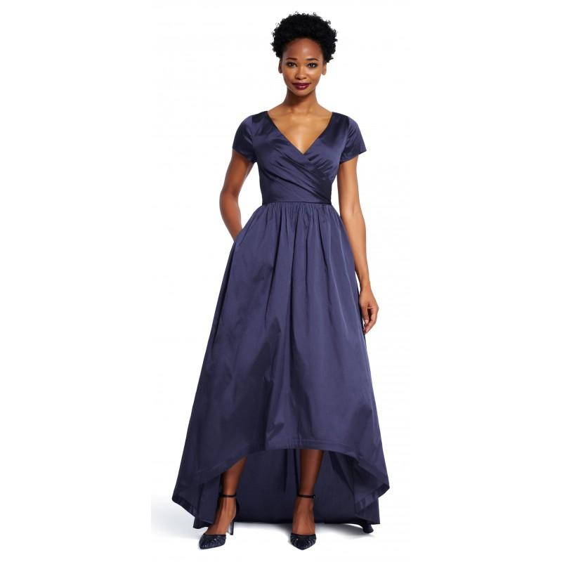 Wedding - Adrianna Papell High Low Taffeta Gown -  Designer Wedding Dresses