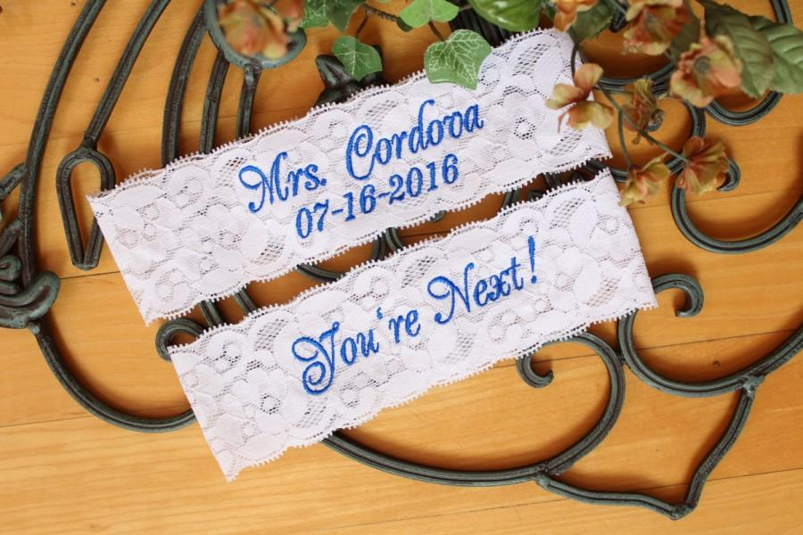 Mariage - Bridal Garter Set, Bride Wedding Garter. toss garter, Something Blue, Custom Size Garter. IVORY or WHITE Lace. Canada GS0 S17