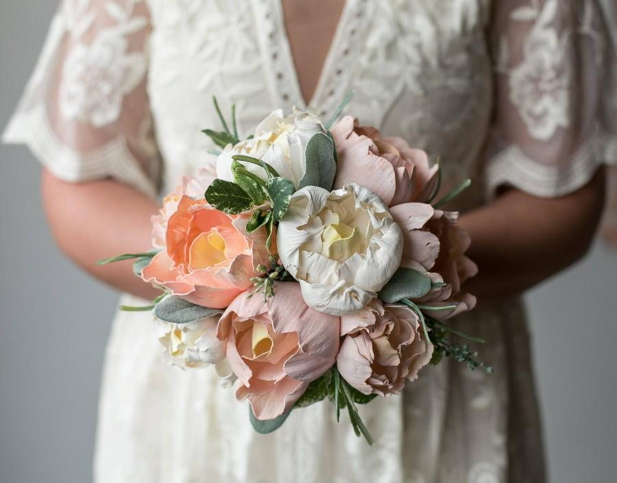 Mariage - Mother's Day Gift,Mother's day flowers,Blush Pink/White Peony Bouquet,Fake bouquet,Keepsake bouquet,Bridal Bouquet,Wood Flowers,Sola Flowers
