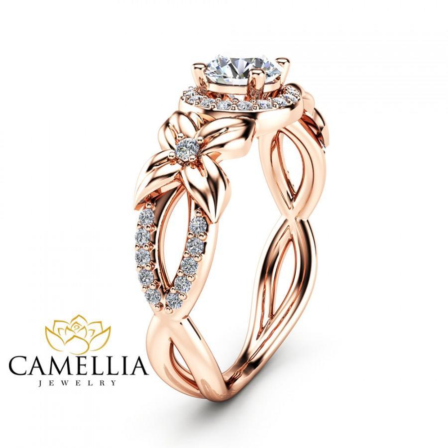 Свадьба - Halo Diamond Engagement Ring 14K Rose Gold Floral Ring Half Carat Natural Diamond Engagement Ring