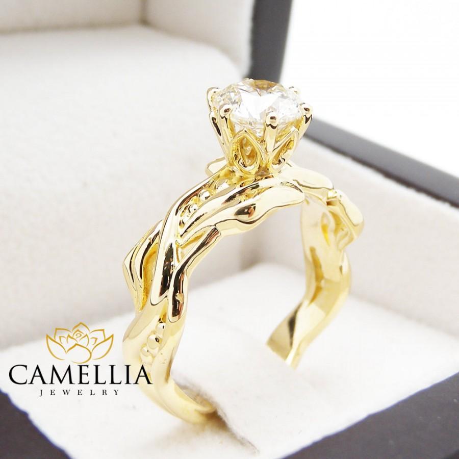 Свадьба - Natural Round Cut Diamond Ring18K Solid Yellow Gold Ring Leaf Ring 1carat Diamond Engagment Ring