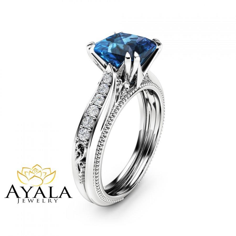 زفاف - Victorian Topaz Engagement Ring 14K White Gold Engagement Ring Princess London Blue Topaz Ring