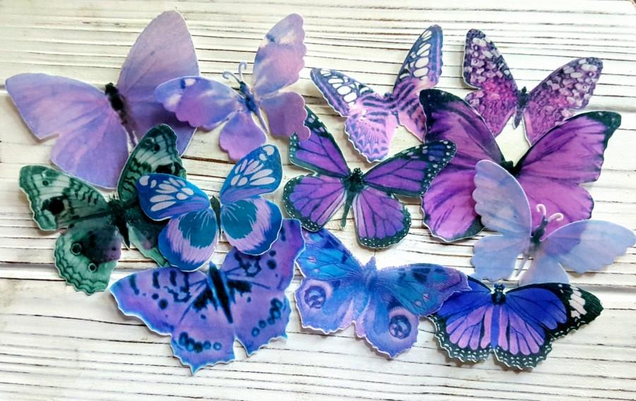 Mariage - Edible Pastel-Purple Butterfly / Edible Cake / Cupcake Toppers, (12)