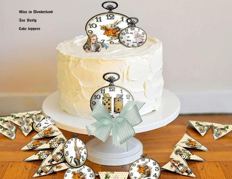 Printable Alice In Wonderland Wedding, Birthday Cake Toppers And ...