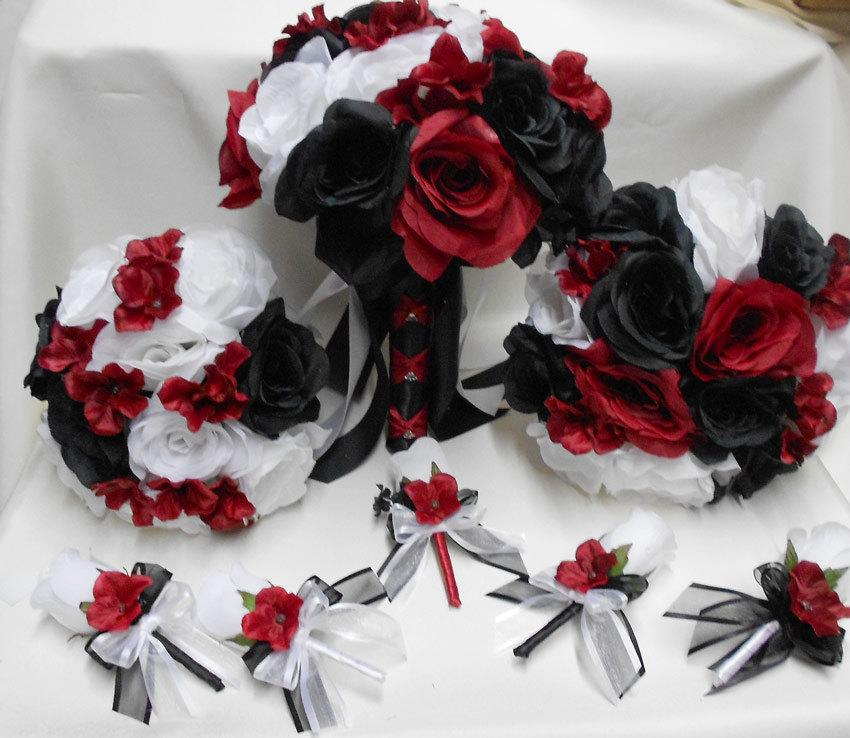 Mariage - Wedding Bridal Bouquets Your Colors 18 pcs Package  Apple Red Black White Roses Toss Bridesmaids  Boutonniere Corsages FREE SHIPPING