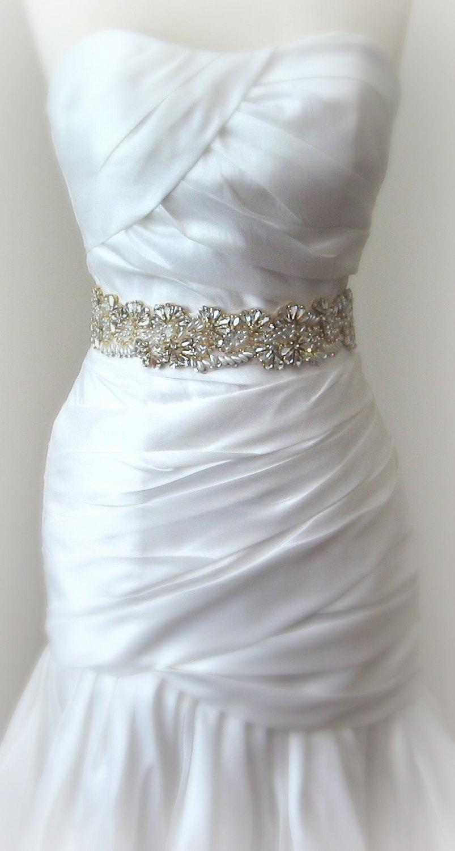 "Mariage - Gold Crystal & Pearl Wedding Belt, Bridal Sash, 13"" of Rhinestones in Gold Settings - ALESSIA"