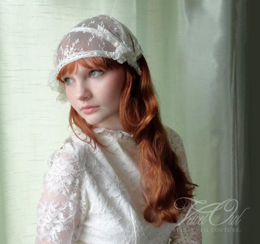 Wedding - Juliet cap, antique bridal veil, Juliet veil, juliet cap veil, bridal cap, wedding veil, vintage veil, veil sale, wedding cap, bridal cap,