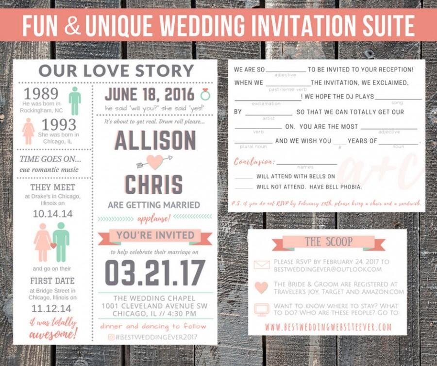 Funny Wedding Reception Invitations: Printable Wedding Invitation Suite / Our Love Story