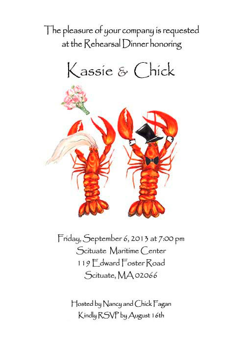 Hochzeit - 25 wedding lobster invitations,  rehearsal dinner,  crawfish invitations, nautical wedding, save the date lobster,  lobster boil invite