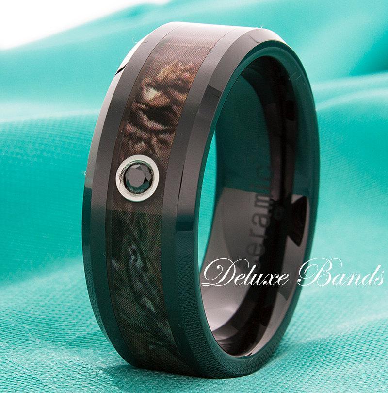 Black Diamond Black Ceramic Camo Inlay Wedding Band Mens Womens