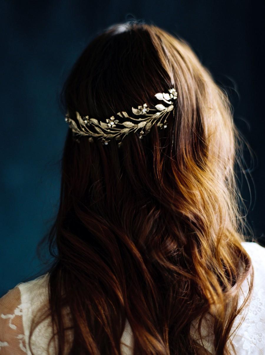 Mariage - Bridal Hair Wreath, Bridal Crown, Gold Crown, Orange Blossom Crown -Style 3716