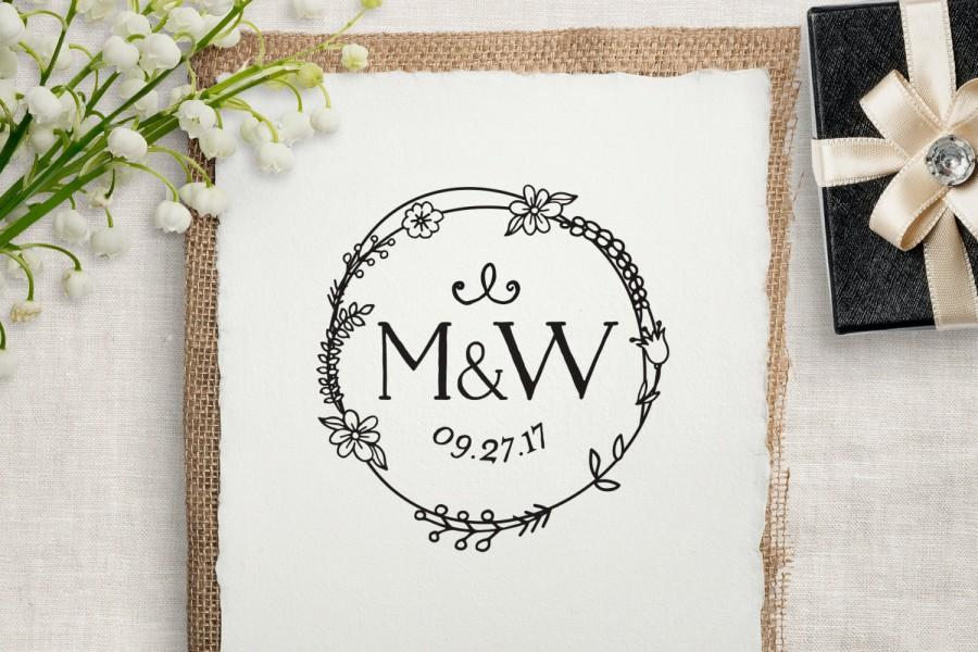 Monogram wedding stamp custom rubber stamp diy wedding for Wedding dress rubber stamp