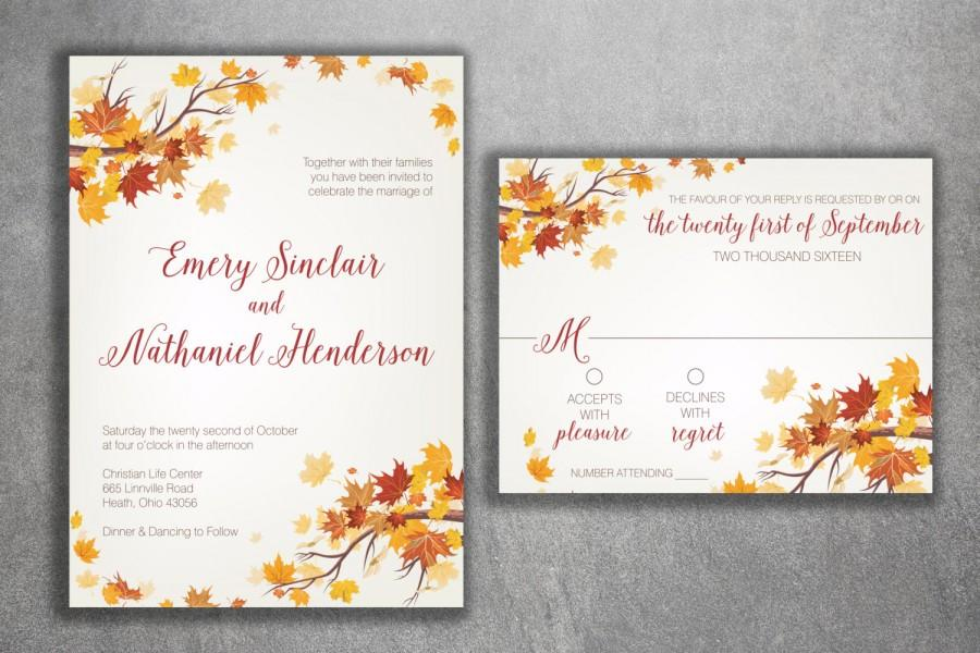 autumn wedding invitation set fall wedding invitation september wedding invitations leaves october maroon and orange wedding invitation - Fall Themed Wedding Invitations