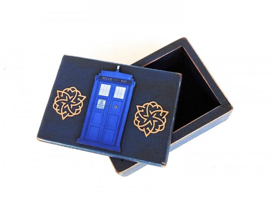 Свадьба - Engagement Ring Box - Ring Bearer Box - Police Call Box - Something Blue - Jewelry Box