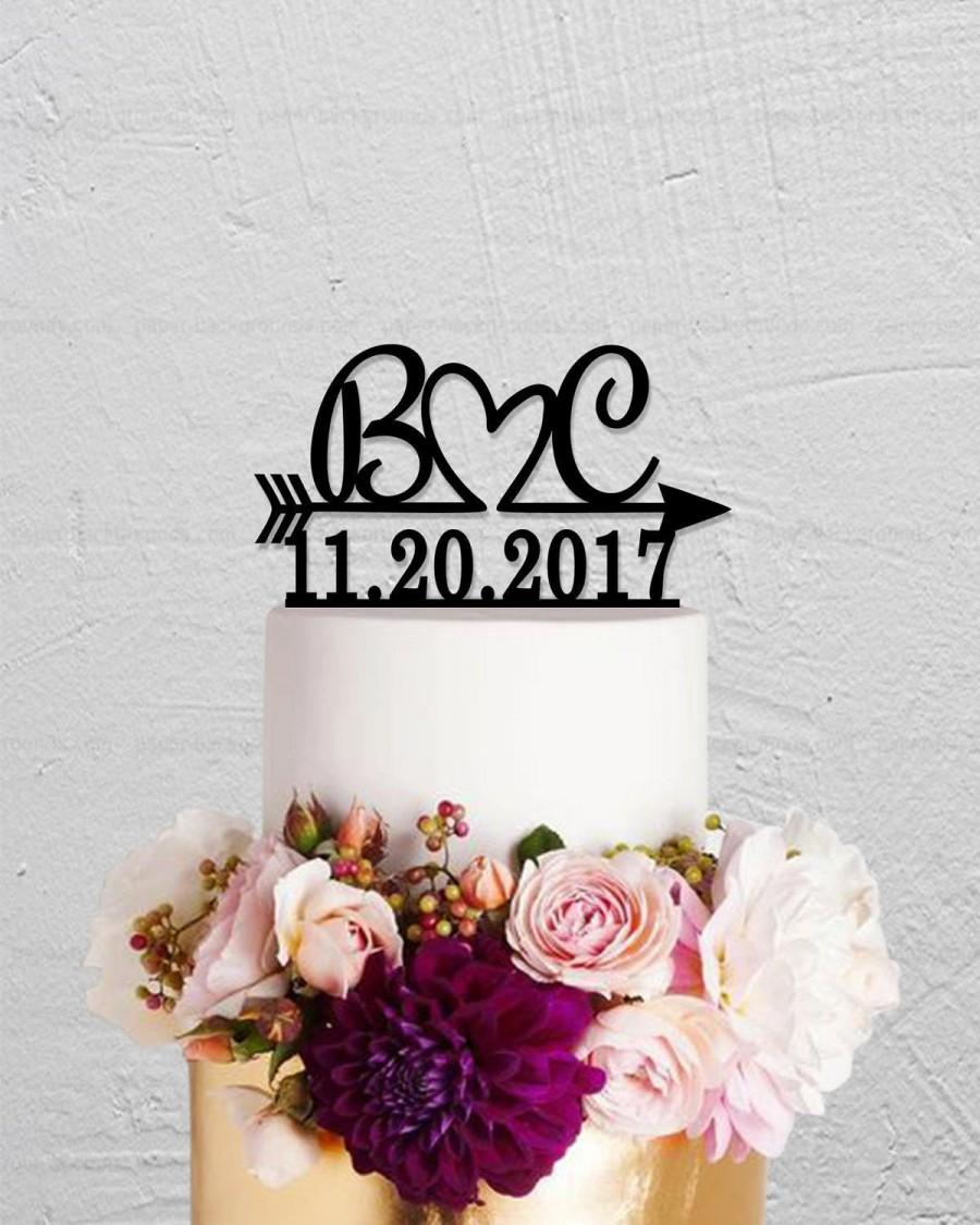 Wedding Cake TopperInitials TopperArrow TopperDate TopperPersonalized TopperRustic TopperName Topper