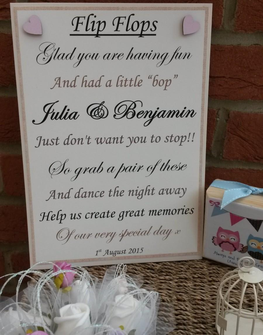 A4 Personalised Flip Flop Sandals Tired Dancing Feet Vintage Style Wedding Sign Any Colour Erflies
