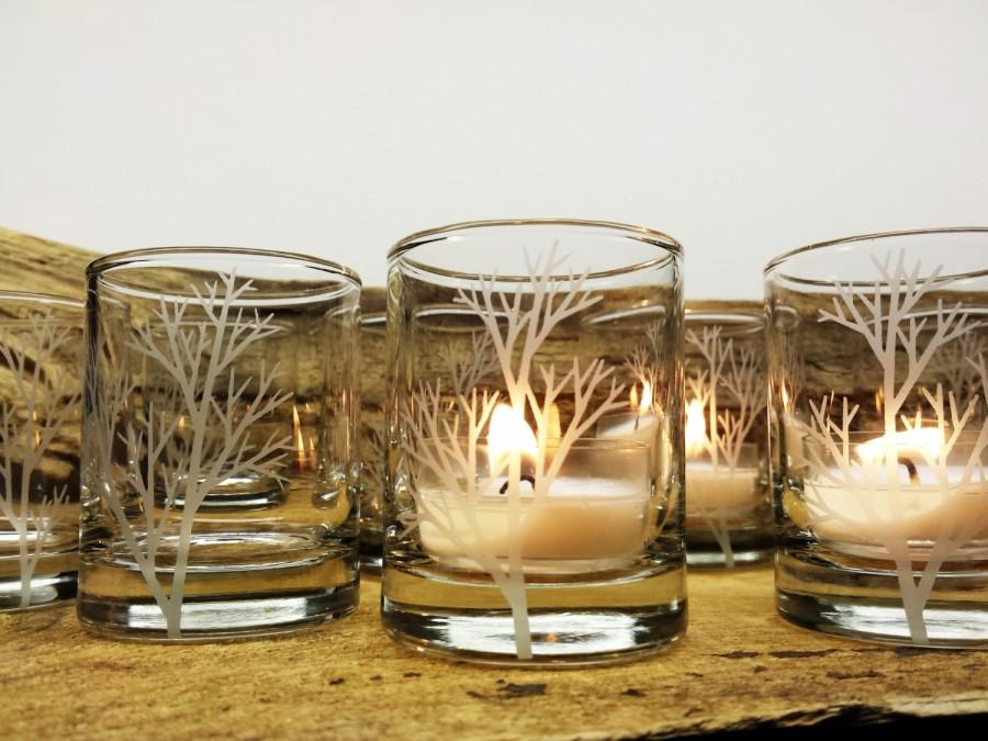 Свадьба - 50 Piece Set 'Tree Branch' Candle Holders Wedding Favors Engraved Glass Votive Holders Fall Decor Woodland Wedding