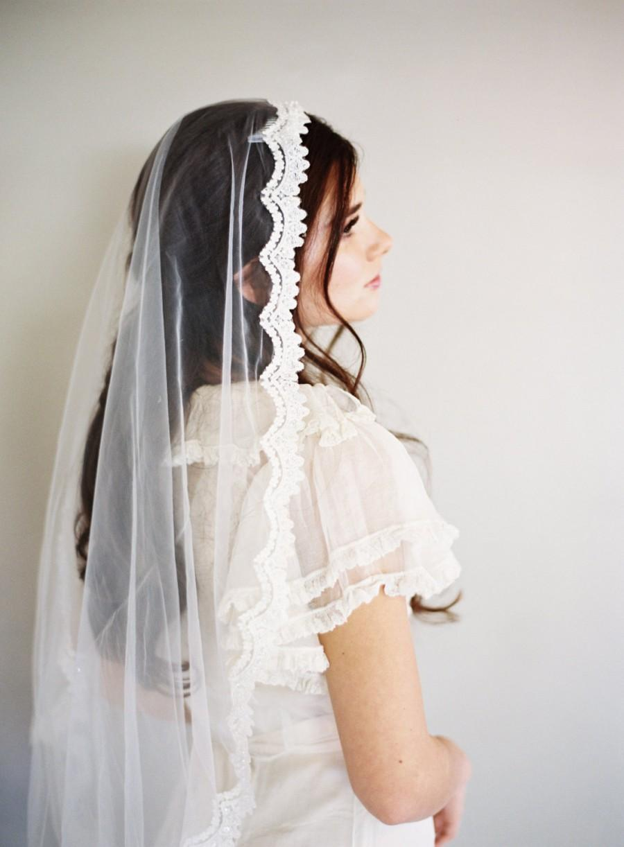 Mariage - SALE Pearl and Sequin Embellished Vintage Ivory Lace Mantilla With Ivory Bridal Illusion Tulle 42 Inch or 60 Inch Wedding Veil 1605