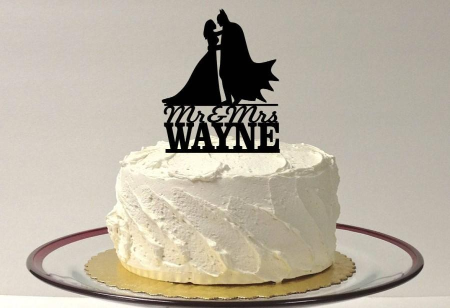 Mariage - MADE In USA, Personalized Superhero With Cape and Bride Wedding Cake Topper, Silhouette Wedding Cake Topper Superhero Bride and Groom