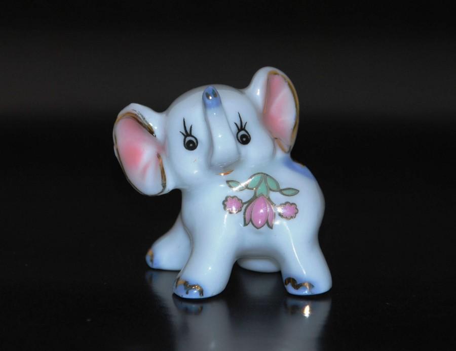 Vintage Tiny Porcelain Gold Elephant Gift Animal Baby Elephant Good
