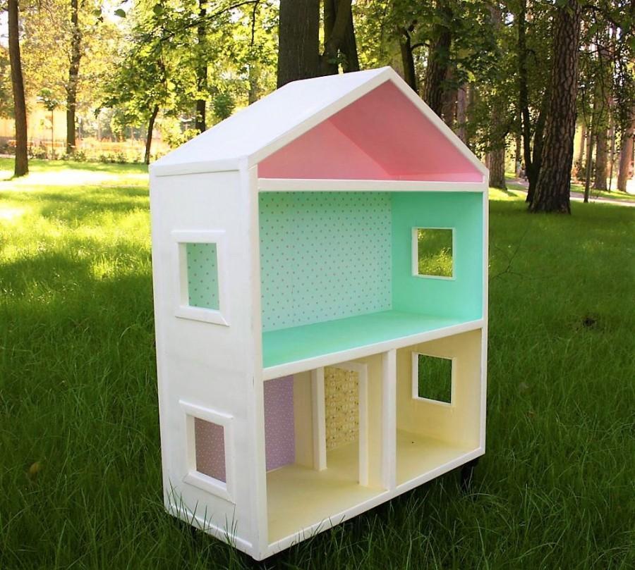 Handmade Bookhelf Wooden Doll House Plywood