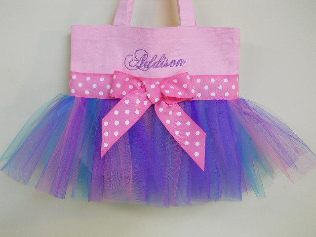 Mariage - Dance Bag, ballet bag, Pink Tote Bag with Pink, Purple and Teal Tulle, dance bags,  Naptime 21, MINI Embroidered Tutu Tote Bag - MTB140 E
