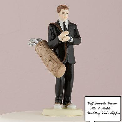 Hochzeit - Golf Lover Groom and or Bride blowing Kisses Sports Golfers Wedding Cake Toppers Romantic Porcelain Mix or Match Individual Figurines