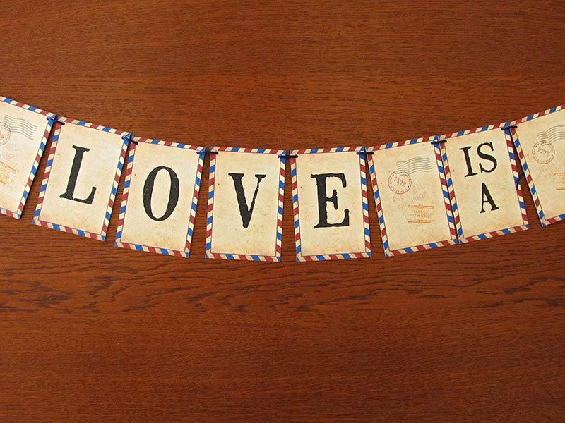 Mariage - Carte Postale Vintage Airmail Wedding Garland, party decoration, wedding banner, travel theme, bridal shower, going away party, travel theme
