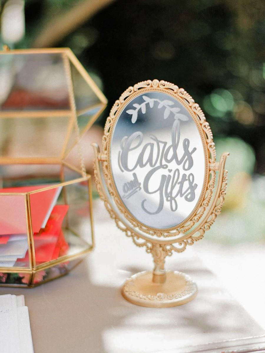 زفاف - Handmade Metallic Gold Vanity Double-Sided Table Mirror / Wedding Decor / Gift Card Sign / Dessert Bar / Cocktail Menu / Guest Instagram