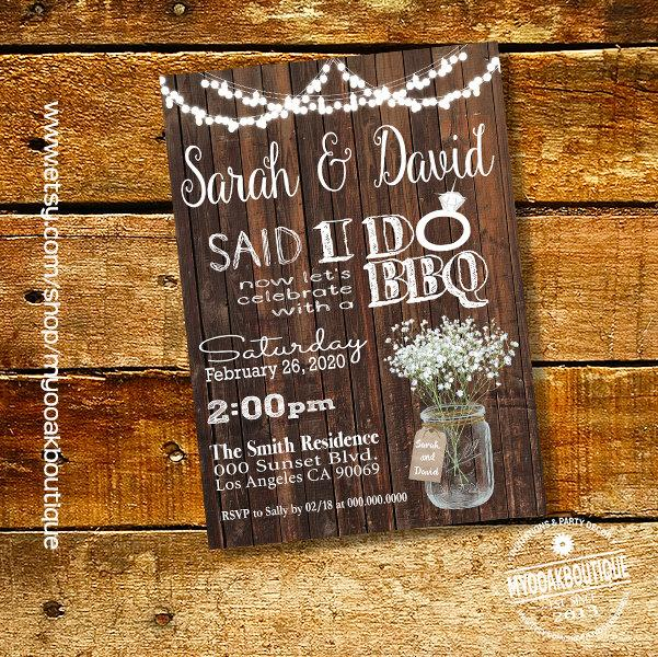 After Party Wedding Invitations: Said I Do BBQ Invitation Wedding Party Wood Mason Jar