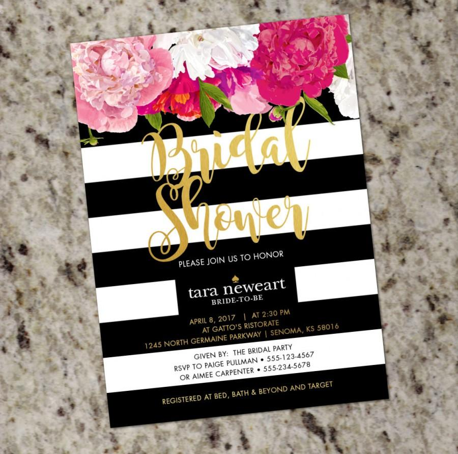Kate Spade Inspired Black White Striped Bridal Shower Invitation With Gold  Accent   DIY Print Your Own