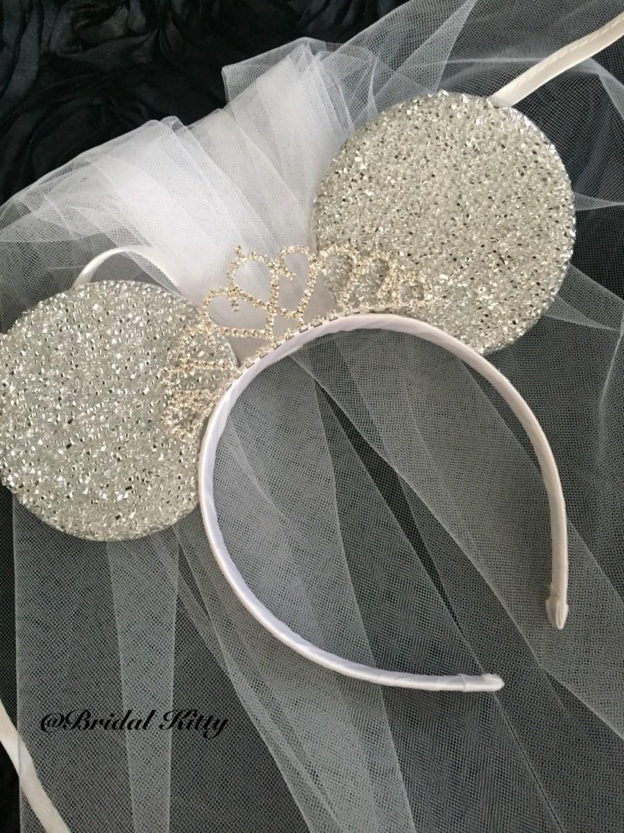 Disney Bride Minnie Mouse Ears Tiara Headband With Veil Disney Wedding Veil    Rhinestone Crown Disney Bachelorette Party Veil Mickey Mouse aea982e63f9