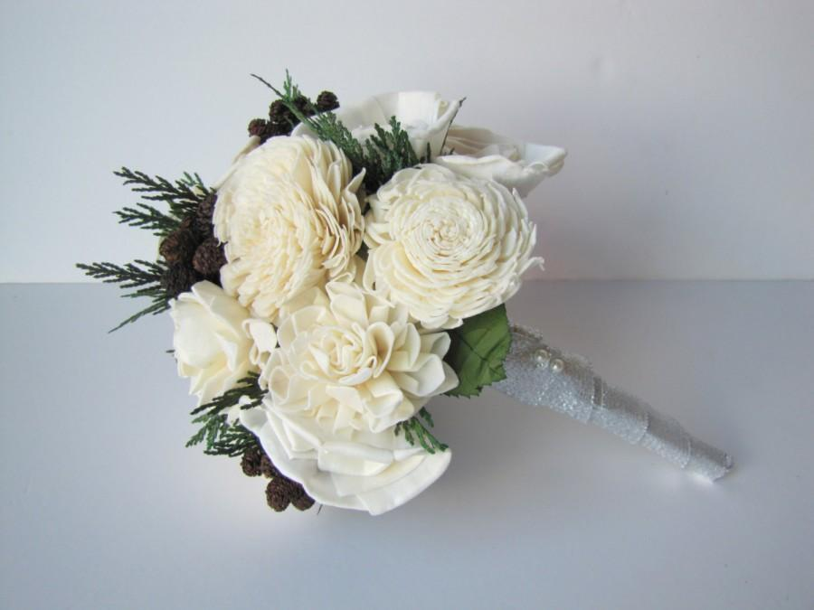 زفاف - Rustic Bridesmaidl Bouquet - Ivory Winter or Fall Bridesmaid Bouquet - Bridesmaid's Bouquet - Woodland bridal bouquet - Wedding Bouquets