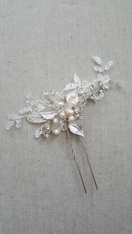 Mariage - Wedding Hair Pins, Bridal Hair Pins, Lace Wedding Hair Pins