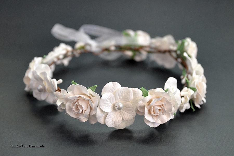 Свадьба - Flower crown - Woodland Wedding Halos - Ivory white floral crown - Boho crowns - White woodland flower crown - Floral crown - Bridal hair