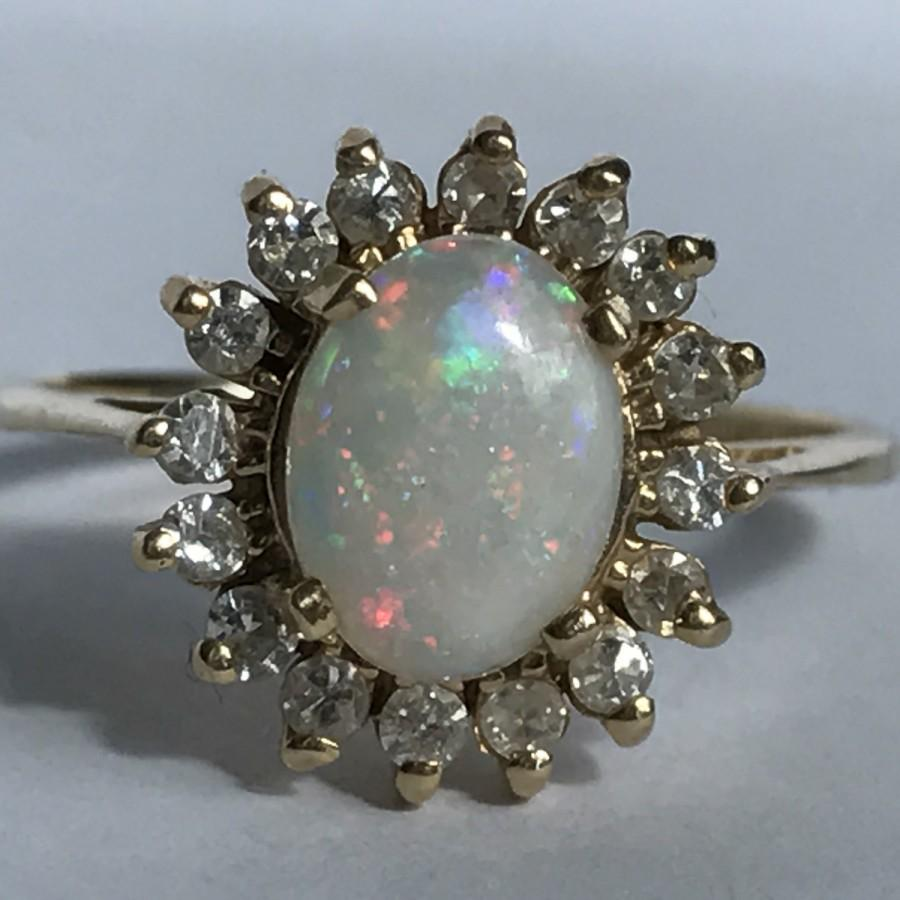 Hochzeit - Antique Opal Engagement Ring. Diamond Halo Ring. 14K Gold. Unique Engagement Ring. October Birthstone. 14th Anniversary. Estate Jewelry.