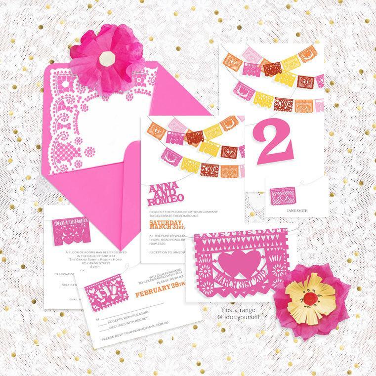 photograph regarding Papel Picado Printable referred to as Fiesta Printable Wedding day Stationery Preset Invitation Suite
